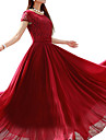 여성의 빈티지 플러스 사이즈 드레스 솔리드 맥시 라운드 넥 폴리에스테르