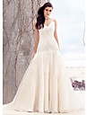 Lanting Bride® Fit & Flare Wedding Dress Sweep / Brush Train V-neck Organza with Appliques / Button