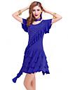 Latin Dance Dresses Women\'s Performance Milk Fiber Crystals/Rhinestones 1 Piece Black / Red / Royal Blue Latin Dance / Samba Dress