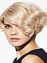 vacker stil blont kort rakt hår syntetisk peruk