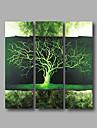 """redo att hänga sträckte handmålade oljemålning duk tre paneler 36 """"x36"""" väggkonst modern abstrakt grönt"""