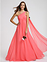 Lanting Bride® Floor-length Georgette Bridesmaid Dress A-line One Shoulder with Criss Cross