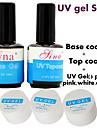 5pcs/Set BASE COAT + TOP COAT UV Gel clear pink white Foundation Nail Art Soak Off Color Polish Builder Tip Glue sets