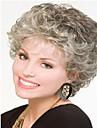 Capless grå färg kort syntetisk lockigt hår peruk fullt bang