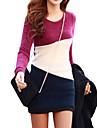 De las mujeres Corte Bodycon Vestido Para Trabajo Bloques Mini Escote Redondo Otro / Punto