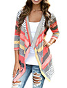 Women\'s Color Block Multi-color Cardigan , Casual / Cute Long Sleeve