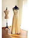 A-line linguriță gât lungime șifon rochie de seară formal cu butoane de beading