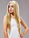 långt rakt hår europeisk väva ljus blont hår peruk