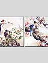 Pictat manual Animal / Floral/BotanicModern / Clasic / Tradițional / Stil European Două Panouri Canava Hang-pictate pictură în ulei For
