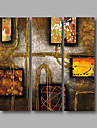 """Ready to Hang Stretched Hand-Painted Oil Painting Canvas Three Panels 36""""x36"""" Wall Art Modern Abstract Brown"""