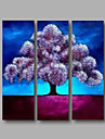 """Ready to Hang Stretched Hand-Painted Oil Painting Canvas Three Panels 36""""x36"""" Wall Art Modern Abstract Purple Blue"""