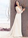 Coloană / Teacă Gât V Trenă Court Dantelă Rochie de mireasă cu Dantelă de LAN TING BRIDE®
