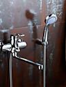 Contemporain Montage mural Pivotant with  Valve en ceramique Mitigeur deux trous for  Chrome , Robinet lavabo