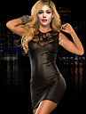Black Red With Lace Back Transparent Bodycon Dress Round Neck Skinny Sexy Club Dress 2015 Sleeveless Faux Leather Dress