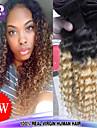 """3pcs / lot 12 """"-26"""" rå brasilianskt jungfruligt hår djup våg mänskliga hårförlängningar två ton färg 1b / 27 curl hår väver"""