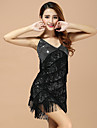 Performance Dresses Women\'s Performance Polyester Tassel(s) 1 Piece Black / Blue / Fuchsia / Red / Yellow Latin Dance Sleeveless Dress