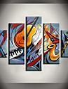 HANDMÅLAD Abstrakt / Landskap / fantasi / Abstrakta landskapModerna Fem paneler Kanvas Hang målad oljemålning For Hem-dekoration