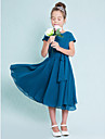 Lanting Bride Tea-length Chiffon Junior Bridesmaid Dress A-line Jewel with Buttons