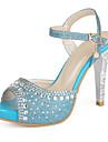 Dame Primăvară Vară Toamnă Platforme Imitație de Piele Rochie Casual Party & Seară Toc Stiletto Platformă Cristal Albastru Argintiu Auriu
