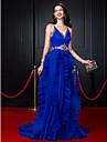 Linia -A Bretele Spagheti Trenă Court Organza Bal Seară Formală Rochie cu Mărgele Eșarfă / Panglică Volane de TS Couture®