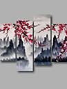 Dipinta a mano Astratto / Paesaggi / Paesaggi astrattiModern Quattro Pannelli Tela Hang-Dipinto ad olio For Decorazioni per la casa