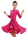 Latin Dance Dresses Children\'s Performance Velvet Flower(s) 1 Piece Fuchsia Latin Dance Dress