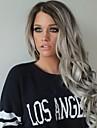 mode syntetiska peruker spets front peruker en lang vågigt svart och grått värmebeständigt hår peruker kvinnor