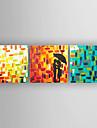 Peint a la main PersonnageModern / Style europeen Trois Panneaux Toile Peinture a l\'huile Hang-peint For Decoration d\'interieur
