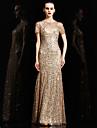 Evento Formal Vestido Sereia Decorado com Bijuteria Longo Charmeuse / Paetes com Lantejoulas