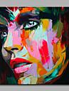 HANDMÅLAD Människor Fyrkantig,Moderna En panel Hang målad oljemålning For Hem-dekoration