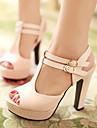 נעלי נשים - סנדלים / בלרינה\עקבים - דמוי עור - עקבים / נעלים עם פתח קדמי / פלטפורמה - שחור / ורוד / Almond - שטח / שמלה / קז\'ואל - עקב עבה