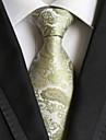 Verde paisley jacquard țesute pentru bărbați cravată cravată