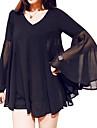 Femei În V Bluză Casul/Zilnic Plus Size,Mată Manșon Lung Vară-Negru Subțire Poliester