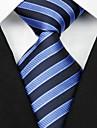 Cravată(Negru / Albastru,Poliester)Dungi