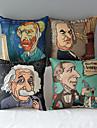 uppsättning av 4 moderna stil tecknad kända personer mönstrad bomull / linne dekorativa örngott