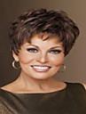 top kvalitet mode kort mørkebrun paryk kvindes syntetiske parykker hår