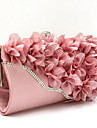 Women Evening Bag Chiffon All Seasons Wedding Event/Party Shopping Casual Formal Baguette Flower Clasp LockBlack Silver Fuchsia Ruby