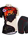 NUCKILY® Cykeltröja med shorts Dam Kort ärm CykelVattentät / Andningsfunktion / Regnsäker / Anti-Eradiation / 3D Pad / Reflexremsa /
