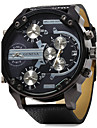 Bărbați Ceas Militar Ceas de Mână Quartz Zone Duale de Timp Zone Triple De Timp Piele Bandă Luxos Negru Negru Portocaliu Rosu Albastru