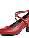 Chaussures de danse(Noir / Rouge / Argent) -Non Personnalisables-Talon Bottier-Cuir-Latine / Moderne