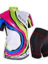 NUCKILY® Maillot et Cuissard de Cyclisme Femme Manches courtes VeloEtanche / Respirable / Antiradiation / La peau 3 densites / Bandes
