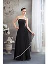 A-linie spaghete curele podea lungime șifon rochie de seară formal cu draperii laterale