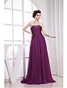 Serata formale Vestito Linea-A Senza spalline Strascico di corte Chiffon con Perline / Drappeggio di lato
