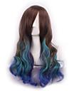 cheveux ondes longues de longueur armure europeenne multi-couleurs cosplay perruque synthetique