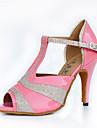 Chaussures de danse(Noir / Rose) -Personnalisables-Talon Aiguille-Cuir-Latine / Moderne