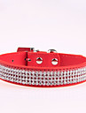 Adjustable Fully Rhinestone Decorated Style Leather Dog Collar (Assorted Color,XS-L)