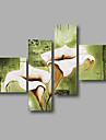Pictat manual Abstract / Floral/BotanicModern Patru Panouri Canava Hang-pictate pictură în ulei For Pagina de decorare