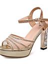 Zapatos de mujer-Tacon Robusto-Punta Abierta / Plataforma-Sandalias-Boda / Vestido / Fiesta y Noche-Cuero Patentado-Rojo / Plata / Oro