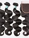Trame cheveux avec fermeture Cheveux Bresiliens Ondulation naturelle 3 Pieces tissages de cheveux