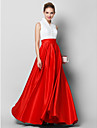 Linia -A Gât Înalt Lungime Podea Dantelă Satin Bal Seară Formală Rochie cu Buton Dantelă de TS Couture®